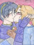 Leslie and Marth kiss by AngelicDragonElf