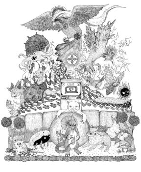 twitch plays pokemon (lineart) by engraven