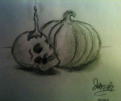Skull and Pumpkin by Cl0udBurn