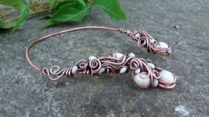 Copper wire wrapped necklace with natural pearls.. by TangledWorld