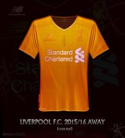 Liverpool gold Away shirt 2015/16 by kitster29