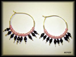 Black and rose earring by jasmin7