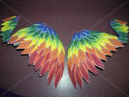 rainbow polymer clay wings by moonbaydesigns