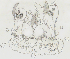 Absol + Mega-Absol Face Farts (Request) by awfulartistsketch