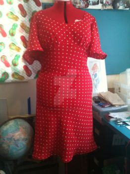 Red Poka dot Dress front by Lolitababy17