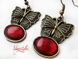 Gothic romantic butterfly earrings with red cab by Benia1991