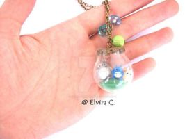 Totoro in glass globe, necklace by elvira-creations