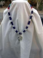 Lapis and Moonstone Pentacle necklace by WyckedDreamsDesigns