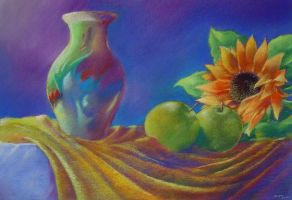 Vase with sunflower by eikenboom