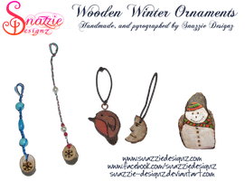 Handmade Winter Wooden Ornaments by snazzie-designz