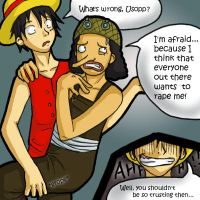 Luffy x Usopp mini comic by firnantowen