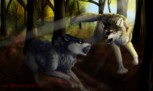Wolf fight by PrinceofPride
