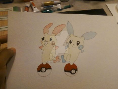 WIP Plusle and Minun Watercolor by ShadowyMystik