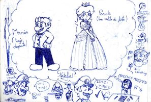 Mario,Peach and stuff by Dino-drawer