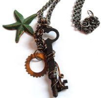 Antique Skeleton Key Necklace - Davy Jones' Locker by sojourncuriosities