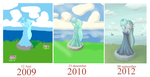 goddess statue 2009 vs 2010 vs 2012 by May-Lene