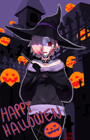 Spooky witches and pumpkins by Taiikodon