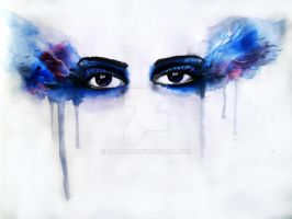 Quick Water Color Painting Of Eyes by Alb-art