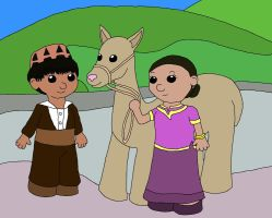 Middle East Children and Llama by MegamiMizuL