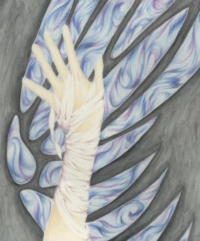 Wing and Hand by redsunsetxiii