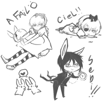 Ciel in wonderland doodles by Shinu-Ookami