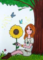 mandy and her sunflower by eluzaberry