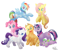 Mane Six + Spike by Kiwi-Heart