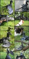 Felted black wyvern collage by tallydragon