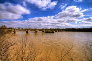 Crumbling Bridge Muddy Water by mr-lacombe