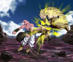 Goku Vs. Buu by xenocracy