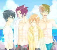 Swimming Anime Group by PandoraRequiem