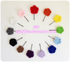 Flower Hair Pins by xxtiffiee