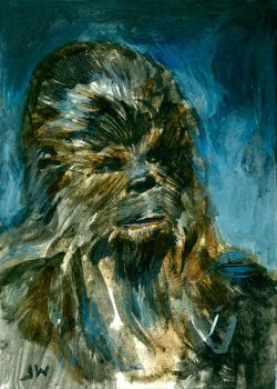 Chewbacca Star Wars Sketch Card by Stungeon