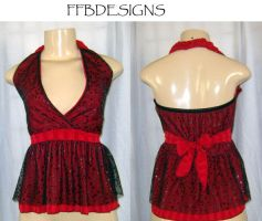 Red n black halter top w stars by funkyfunnybone