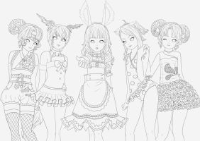 My Elin in their costumes (outline) by oOCrazyKittyOo