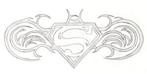 Superman - Batman Logo Tattoo by CatherineBruce