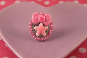 Pink Star Bow Cocktail Ring by PeppermintPuff