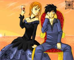 Luffy and Nami by PokuPoku