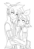 ANOTHER Rin and Len outline by Nitemare4545