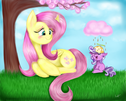 Fluttershy and Little Screwball by LCpegasister75