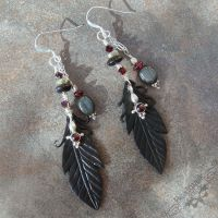Raven Feather Earrings by Beadmask