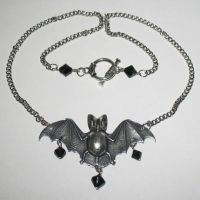 Glass Bead Bat Necklace- Blk by Horribell-Originals