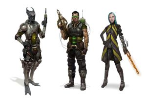 sci fi merc squad by AndrewRyanArt