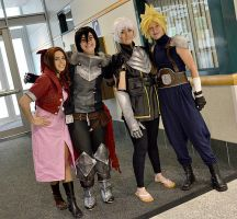 Aerith, Cloud, Hawke, Fenris by twinfools