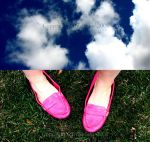 Pink Shoes and The Sky by thriftyredhead