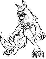 Zombie Werewolf Lineart by Xbox-DS-Gameboy