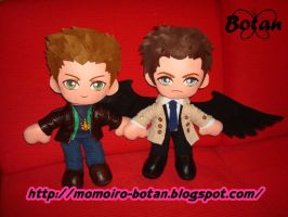 Dean and Castiel plush version by Momoiro-Botan
