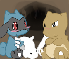 Riolu and Cubone by Raiyna