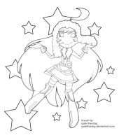 miki cosmic lucky lineart by Gobi-the-dog