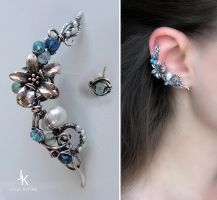 Silver ear cuff and stud Caribbean flower by JuliaKotreJewelry